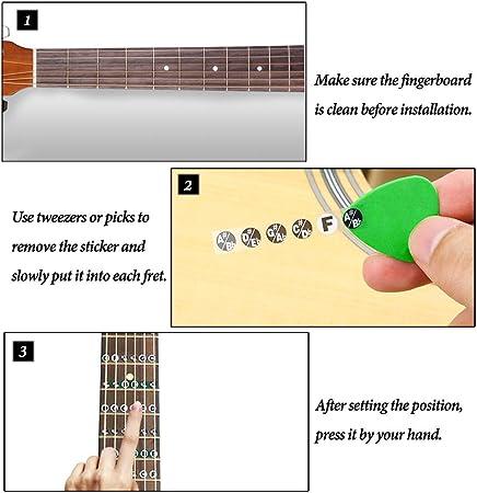 Golrisen Nota de Guitarra Negros y Blanco, Adhesivos para Aprender ...