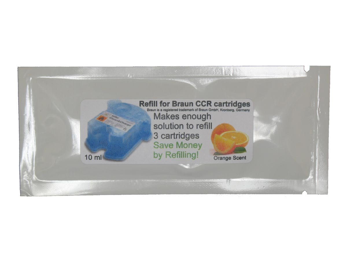Refill Solution for Braun® Clean & Renew® CCR3 Shaver Cartridges (Orange, 10 Packets (30 refills)) CCRRefills