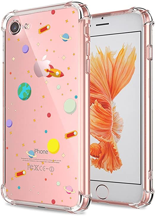 Amazon Com Iphone 7 8 Se 2020 Case Clear With Design Cute Outer Space Galaxy Planet Protective Cell Phone Back Cover For Iphone 7 Iphone 8 New Iphone Se 2020 Shockproof Flexible Slim Fit Science Universe Teens