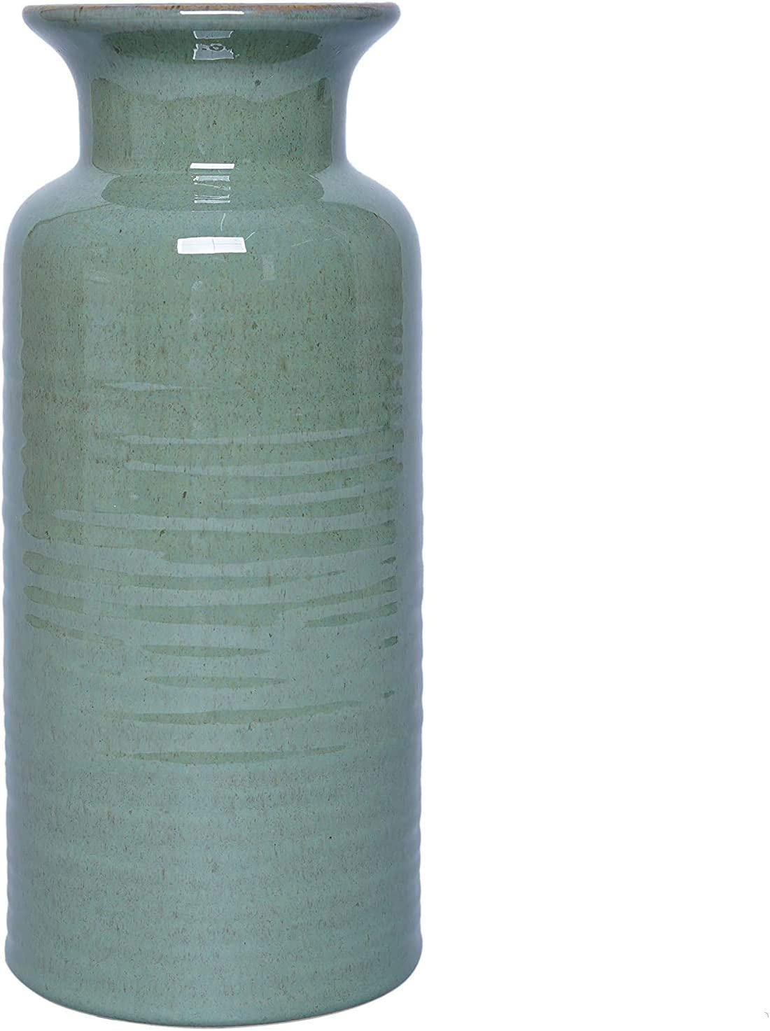 Hosley Green 10 Inch Ceramic Vase. Ideal Gift for Home Weddings Party Spa Meditation Home Office W5