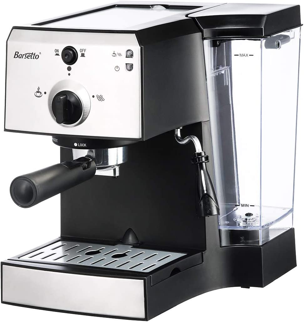 EU Latte and Mocha 3 Barsetto Espresso Coffee Machine 15 Bar Stainless Steel Coffee Brewing Machine with Independent Milk Frother and Stainless Steel Cup for Cappuccino