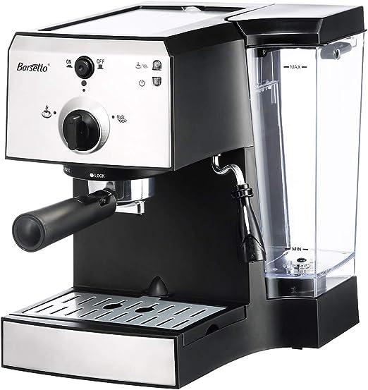 Barsetto - Cafetera de espresso (15 bar, acero inoxidable, con ...