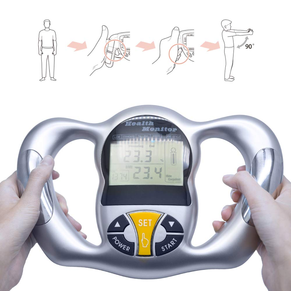 Handheld Fat Analyzer, Digital LCD Display Body Fat Tester, BMI Weight Loss Tester, Calorie Calculator Measurement Tool