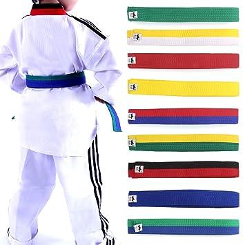 720892833540 Lunji Ceinture pour Taekwondo karaté Judo 250cmx4cm 9 Couleurs (Bleu ...