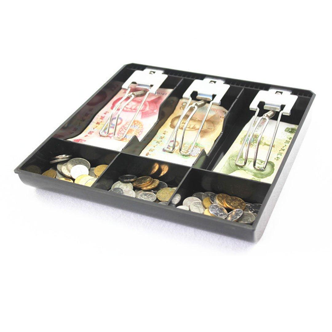 Caja registradora, bandeja de efectivo de plástico negro, supermercado, centro comercial, accesorios de caja registradora (1.38x9.69x9.6 inch) Leeshang