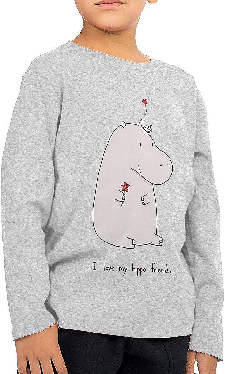 I Love My Hippo Friend Unisex Boys Girls Long Sleeve Crew Neck Cotton T-Shirts Sweatshirt for 2-6T Baby