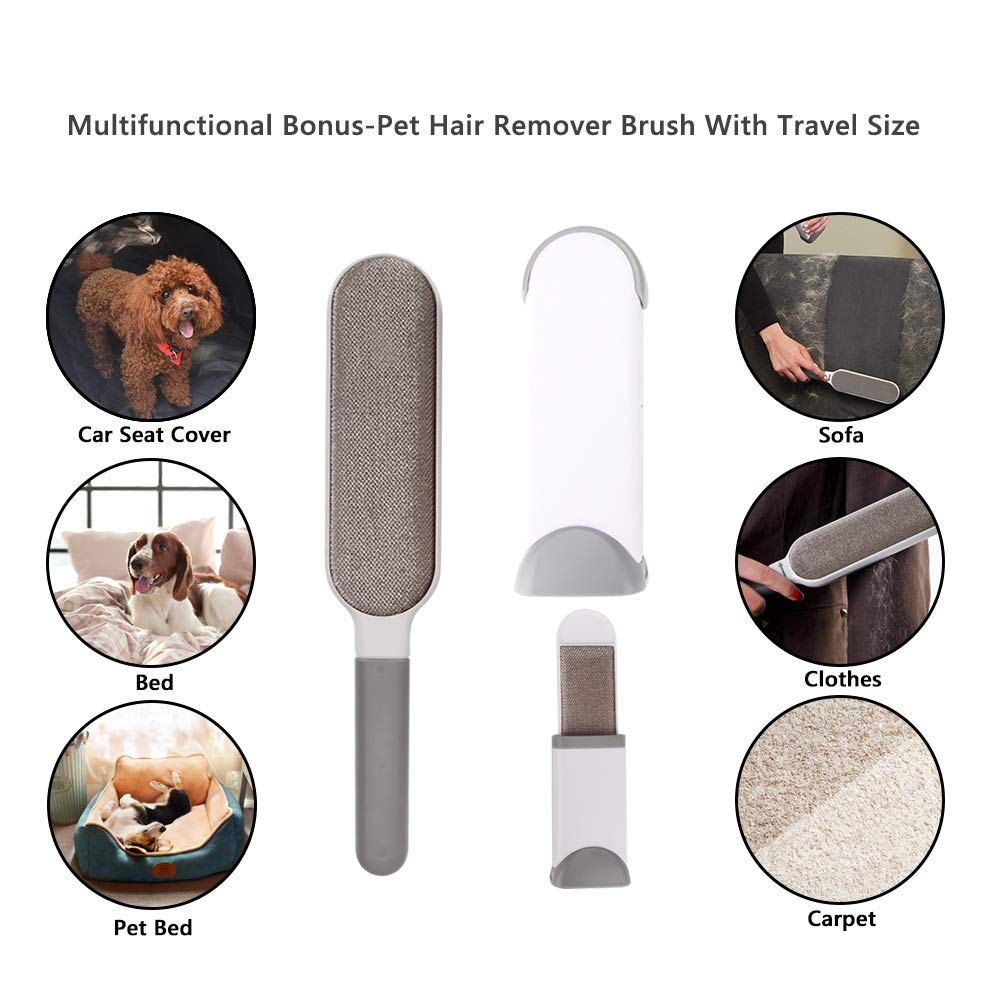 Car Seat Cover for Dog Pets or Kids Waterproof Nonslip Bench Seat Cover Compatible for Middle Seat Belt and Armrest Fits Most Cars, Trucks, SUVs, with Dog Safty Belt & Hair Remover Brush Roller Bonus