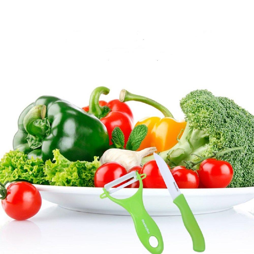 Ceramic Veggie Fruit Knife and Peeler Gift Set Green or Red. Ultra Sharp Lightweight, No Rust and Metal Taste, (Green)