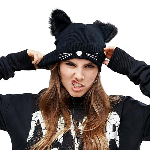NW 1776 Sombrero de mujer gato oreja ganchillo trenzado de punto gorras snowboard caliente invierno