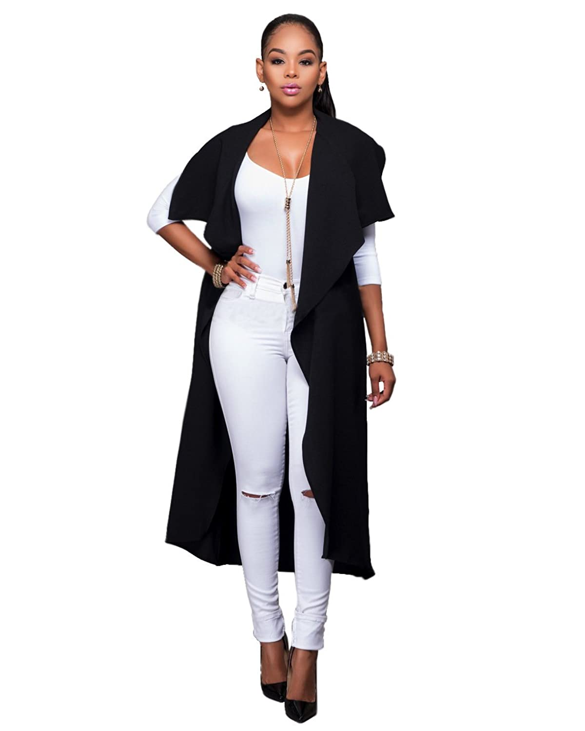 Womens Casual Waterfall Drape Open Front Sleeveless Vest Cardigan Trench Coat