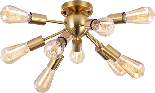 SUNVP Sputnik Ceiling Light Brass Modern Gold Chandelier Pendent Light Fixture