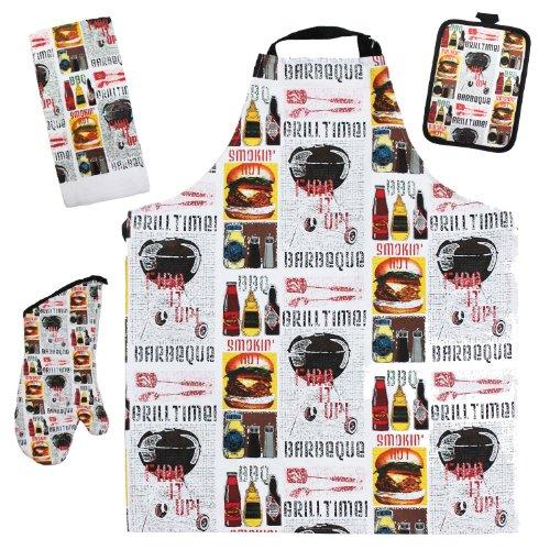 J & M Home Fashions 4-Piece BBQ Grill Time Kitchen Towel Set ()