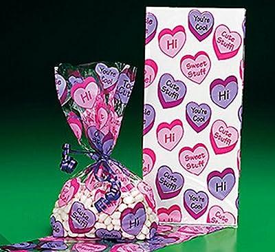 24 Conversation Valentines Heart Cellophane Bags (2 Dozen)