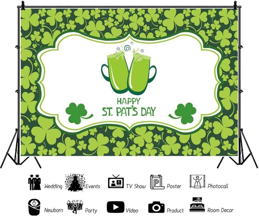 DaShan 14x10ft Happy St Patricks Day Backdrop Lucky Irish Green Shamrock Decoration Rustic Wooden Texture Wall Spring Holiday Photography Background Baby Children Kids Portrait Photo Props