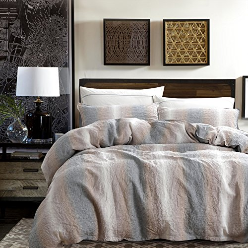 Design French Linen (NTBAY 3 Pieces Duvet Cover Set 100% French Linen with Hidden Tie Closure, Durable and Breathable, Camel and Grey, Queen Size)