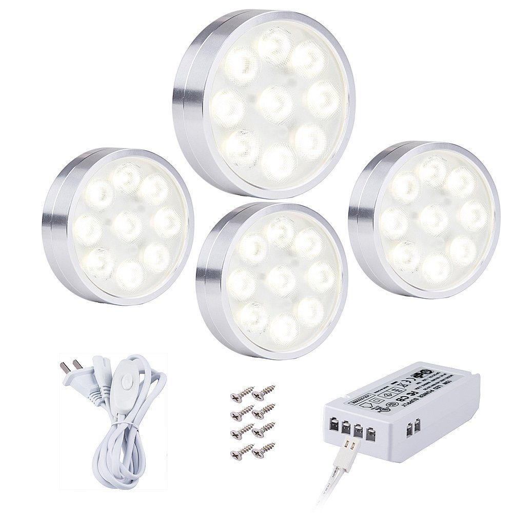 acebox 4 PCS Ultra-Thin LED Under Cabinet Light Kit for Confined Spaces, such as Cabinets, Bookshelves and Closets, Warm White, 45o LENS spot light, 8.2ft Power Cord, Silver Color, with UL-listed Power Adapter, Surface Mounting and Easy to Install