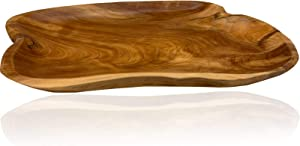 Root Wood Serving Tray, Unique Handmade Root Carved Dish, Natural Wooden Platter for Furit Snack Bread Appetizer Display (15.7 INCH)