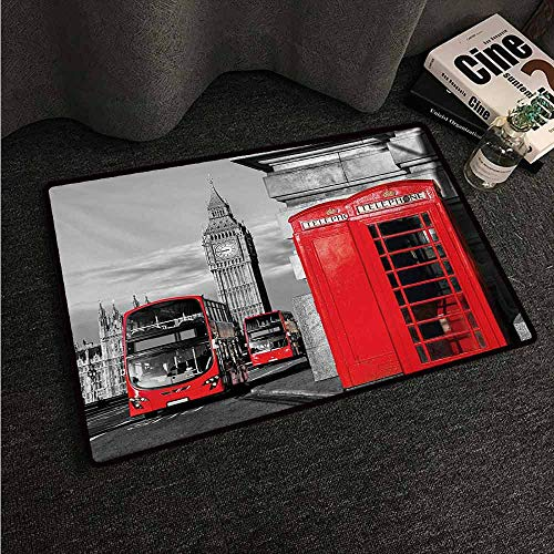 (HCCJLCKS Waterproof Door mat London London Telephone Booth in The Street Traditional Local Cultural Icon England UK Retro Machine wash/Non-Slip W24 xL35 Red Grey)