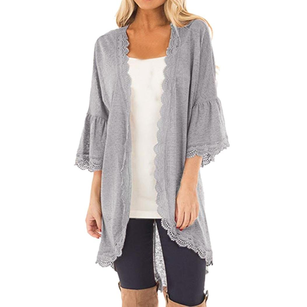 GONKOMA Women's Casual Loose Bell Sleeve Lace Kimono Cardigan Blouse Tunic Tops by GONKOMA Womens Tops