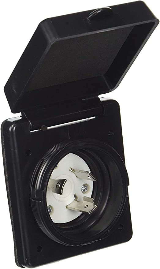 twist locking Black 30 amp RV Marine power inlet box Nema L5-30P trailer