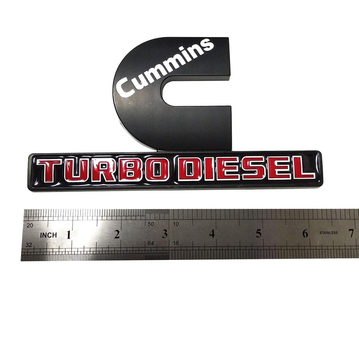 Chrome red Yuauto Cummins Turbo Diesel Car Emblems 3D Decal Badges Replacement for Dodge Ram 2500 3500 Nameplate Emblem Mopar