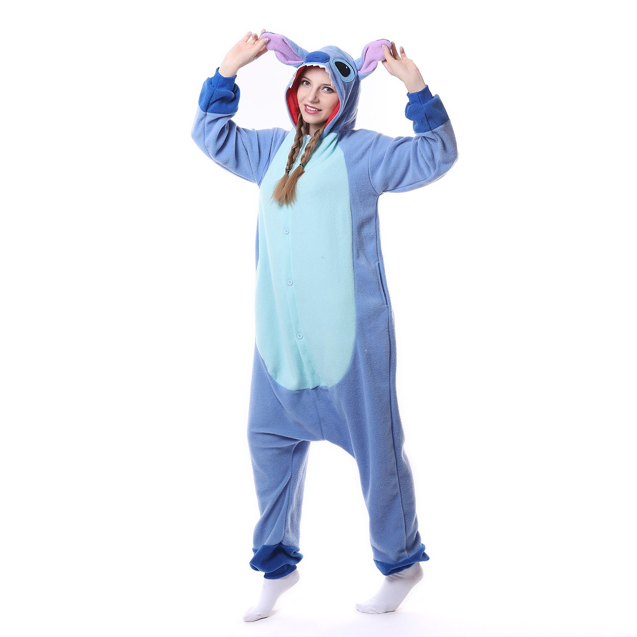 MEILIS Cartoon Sleepsuit Costume Cosplay Lounge Wear Kigurumi Onesie Pajamas Stitch,Birthday or Christmas Gift,Blue by MEILIS (Image #2)
