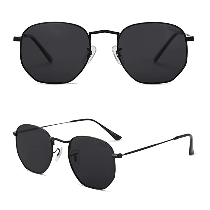 06edf2e619 SOJOS Small Square Polarized Sunglasses for Men and Women Polygon Mirrored  Lens SJ1072 With Black Frame Grey Lens  Amazon.in  Clothing   Accessories