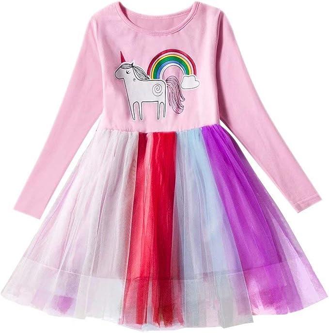Amazon.com: Vestido de unicornio de manga larga, diseño de ...