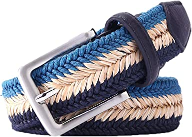 Canvas Braided Cotton Stretch Woven Jean Mens Belts With Wax Rope And Straw
