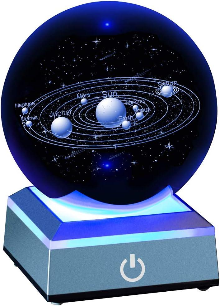 ERWEI 3D Solar System Model Crystal Ball 80mm 3.15