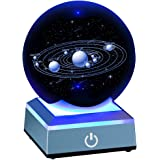 Solar System Crystal Ball 80mm with 3D Laser Engraved Sun System with a Touch Switch LED Light Base Cosmic Model with…