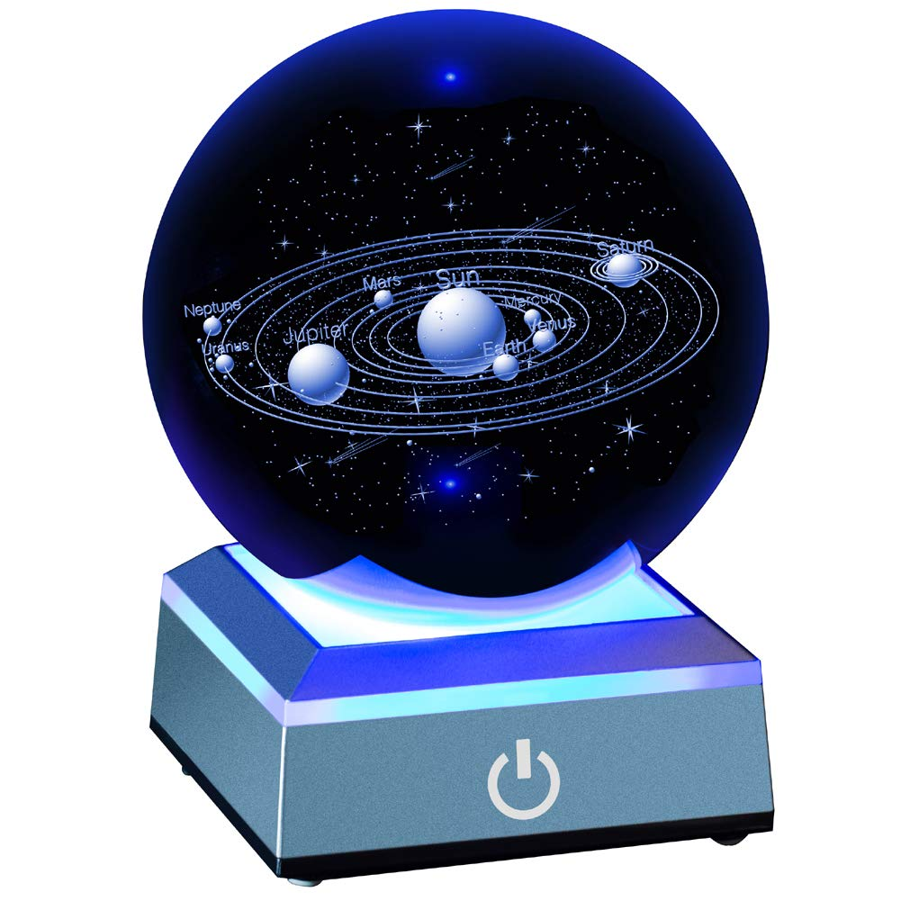 Solar System Crystal Ball 80mm with 3D Laser Engraved Sun System with a Touch Switch LED Light Base Cosmic Model with Names of Various Celestial Bodies by Erwei
