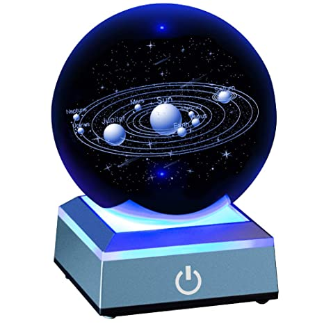 Solar System Crystal Ball 80mm with 3D Laser Engraved Sun System with a  Touch Switch LED Light Base Cosmic Model with Names of Various Celestial