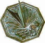 Rome 2320 Rose Sundial, Solid Brass with Verdigris