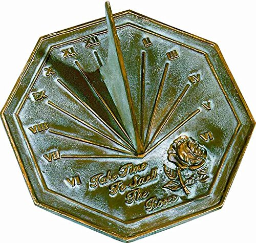 (Rome 2320 Rose Sundial, Solid Brass with Verdigris Highlights, 8.5-Inch Diameter)