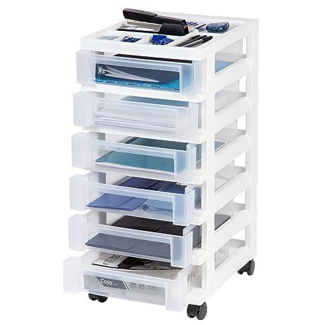 Storage Bin IRIS 68 Qt. 6 Drawer In White