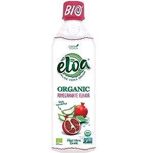 ELOA Organic Pomegranate Flavored Water Aloe Vera Pulp, Natural Fresh Fruit Flavor Vegan Clean Gluten Free Non GMO Healthy Refreshing Tasty Juice Alternative Infused Drink Beverage, 12 Pack Count