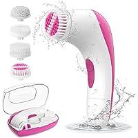 Gesichtsbürste - ETEREAUTY elektrische Gesichtsreinigungsbürste wasserdict mit 4 Bürstenköpfen tiefe sanfte Gesichtsreinigung für alle Hauttypen mit einem Box Reisegröße (Rosa)