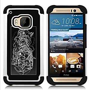 For HTC ONE M9 - FLORAL BLACK WHITE SKULL FLORAL PATTERN Dual Layer caso de Shell HUELGA Impacto pata de cabra con im??genes gr??ficas Steam - Funny Shop -