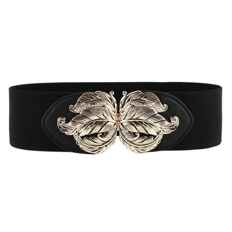 Mlotus Women's Black Vintage Wide Elastic Stretch Waist Cinch Belts Metal Buckle