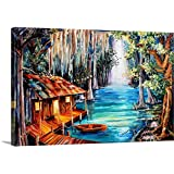 "Diane Millsap Premium Thick-Wrap Canvas Wall Art Print entitled Moon on the Bayou 24""x16"""