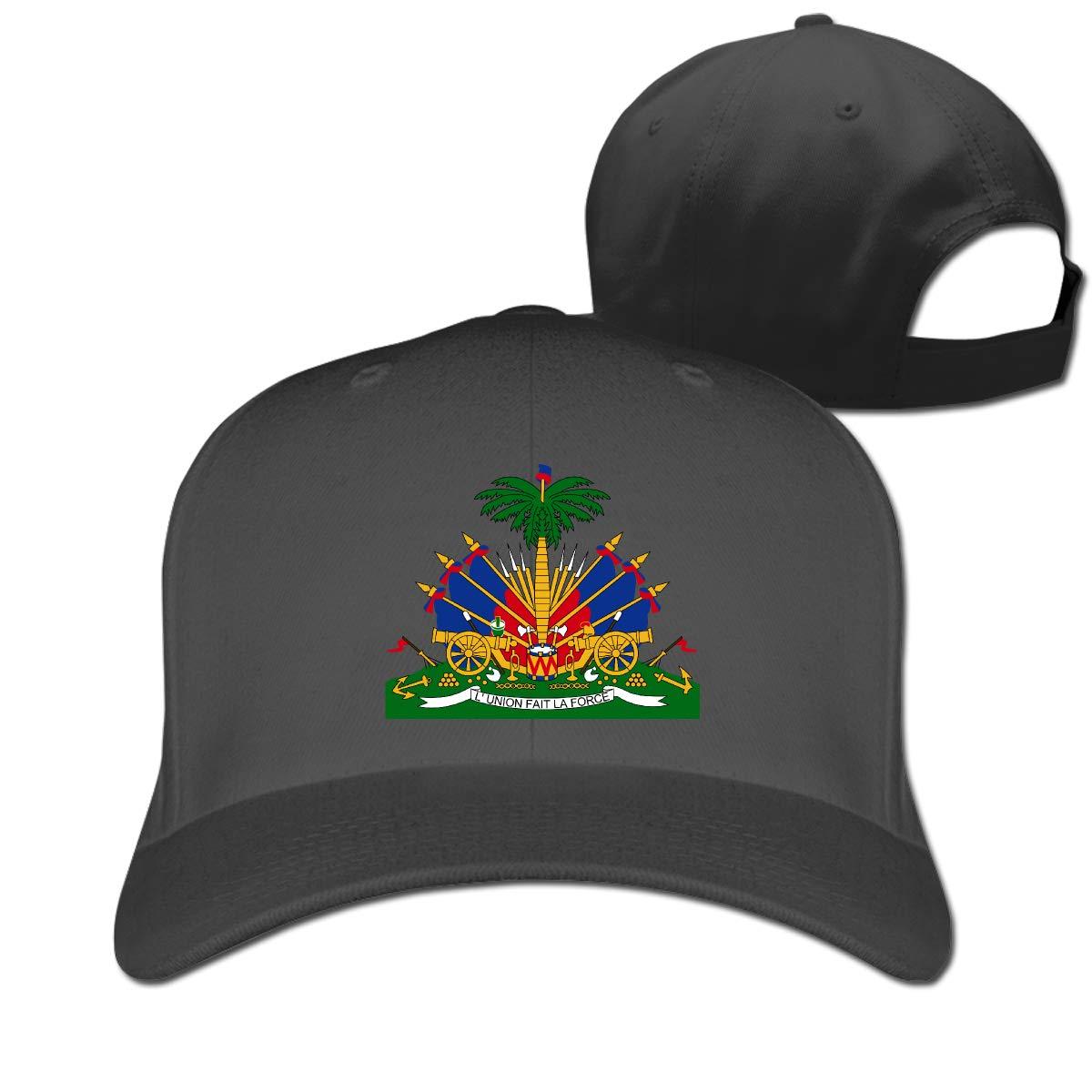 Coat of Arms of Haiti Fashion Adjustable Cotton Baseball Caps Trucker Driver Hat Outdoor Cap Black