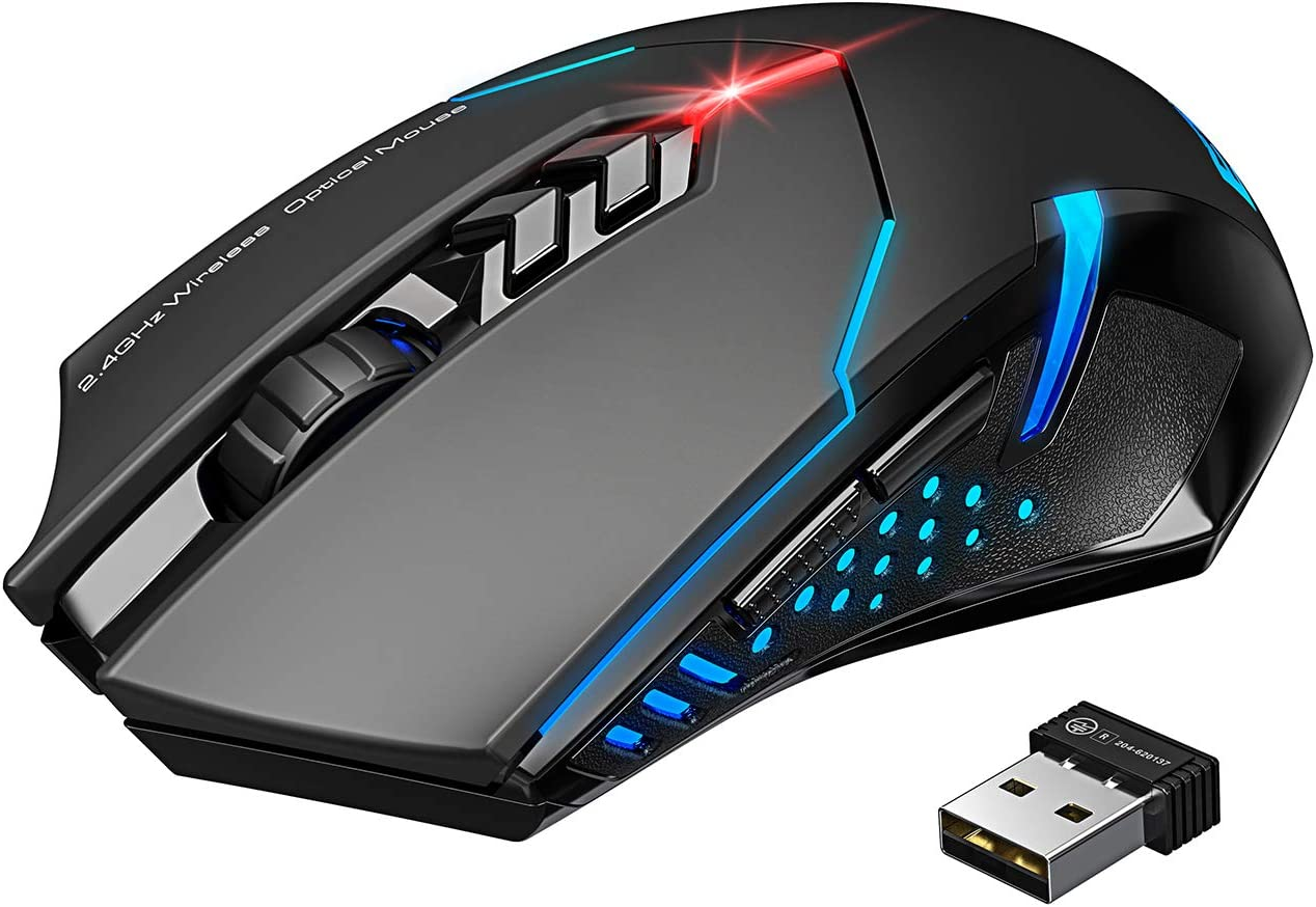 VicTsing Wireless Gaming Mouse with Unique Silent Click, Breathing Backlit, 2 Programmable Side Buttons, 2400 DPI, Ergonomic Grips, 7-Button Design - Black