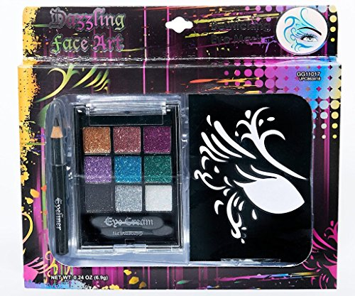 Dazzling Face Art Makeup Kit [5 Pieces] *** Product Description: Dazzling Face Art Makeup Kitincludes: (4) Stencils, (1) Eyeliner Pencil And (1) Eye Cream Compact. Makeup Washes Off With Soap And Water. For Temporary Use Only. Makeup May Stain Ce ***