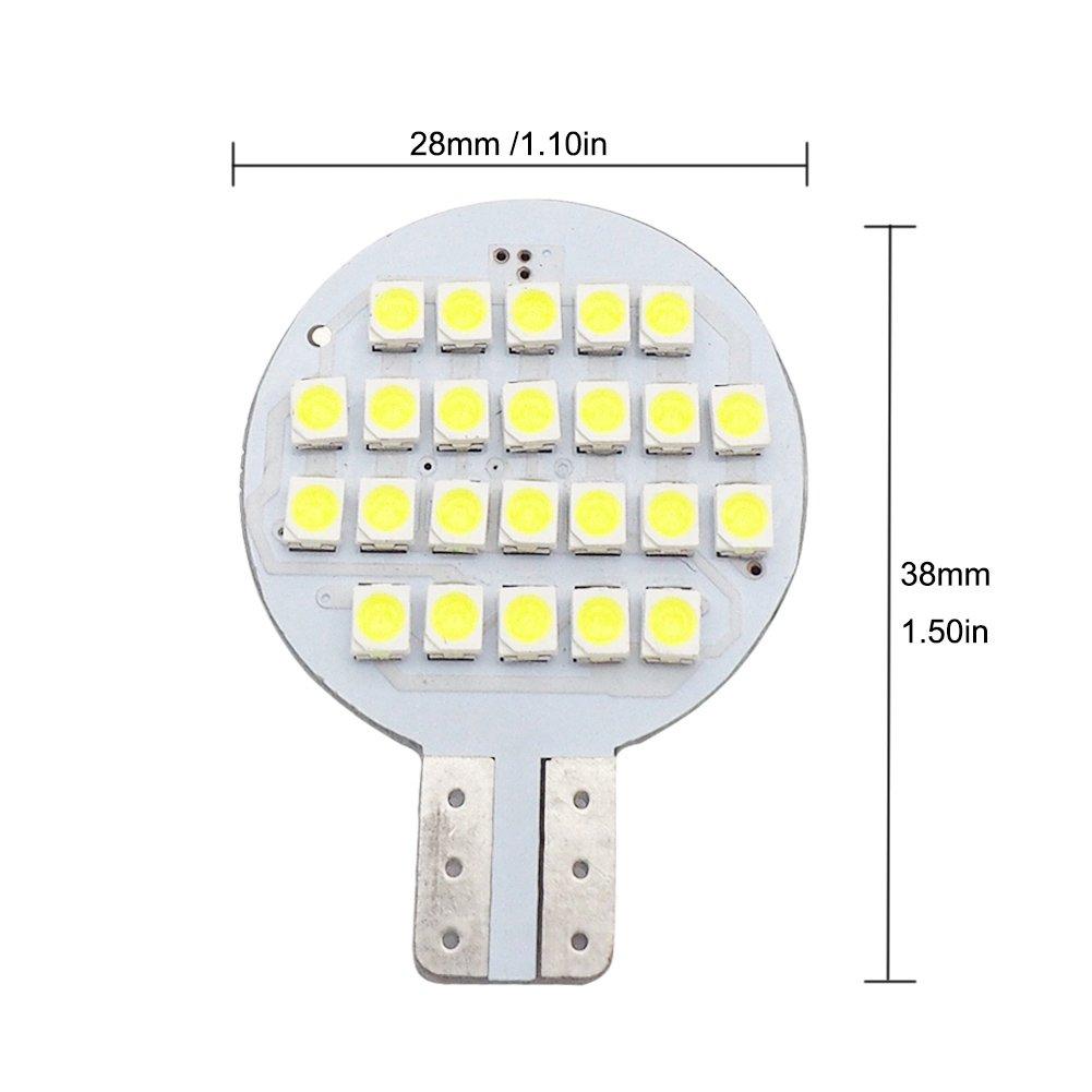 2nd Generation Pack of 20 Glming T10 LED Light Bulb 921 194 192 C921 24-3528 SMD Super Bright Lamp AC//DC 12V-24V 2.5 Watt Cool White