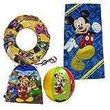 Disney Mickey Mouse Beach Towel Sling Bag Beach Ball Goggles Swim Ring Swimming Pool Bundle