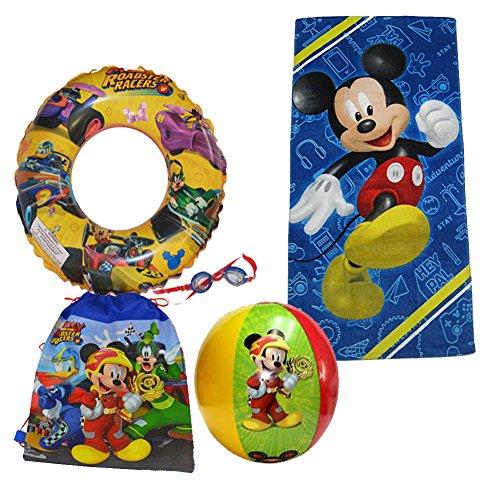 Disney Mickey Mouse Beach Towel Sling Bag Beach Ball Goggles Swim Ring Swimming Pool Bundle by Disney (Image #4)