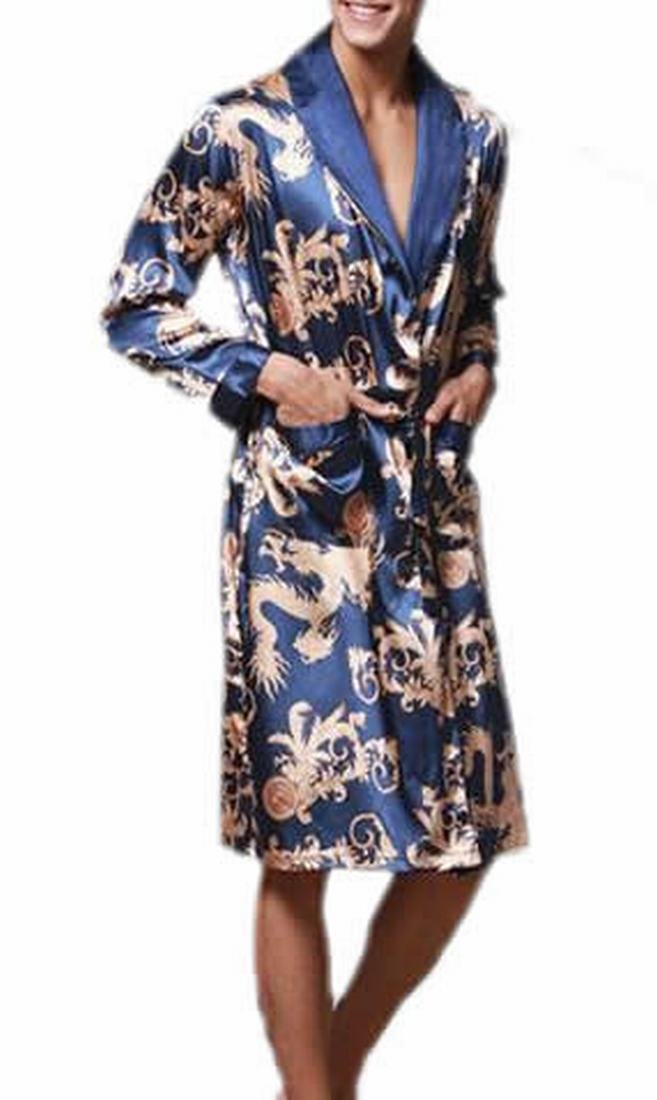 Fulok Mens Fashion Loose Allover Printed Splice Robe jewelry blue XXL