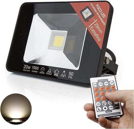 Proyector LED 20W Sensor Movimiento configurable con Mando a ...