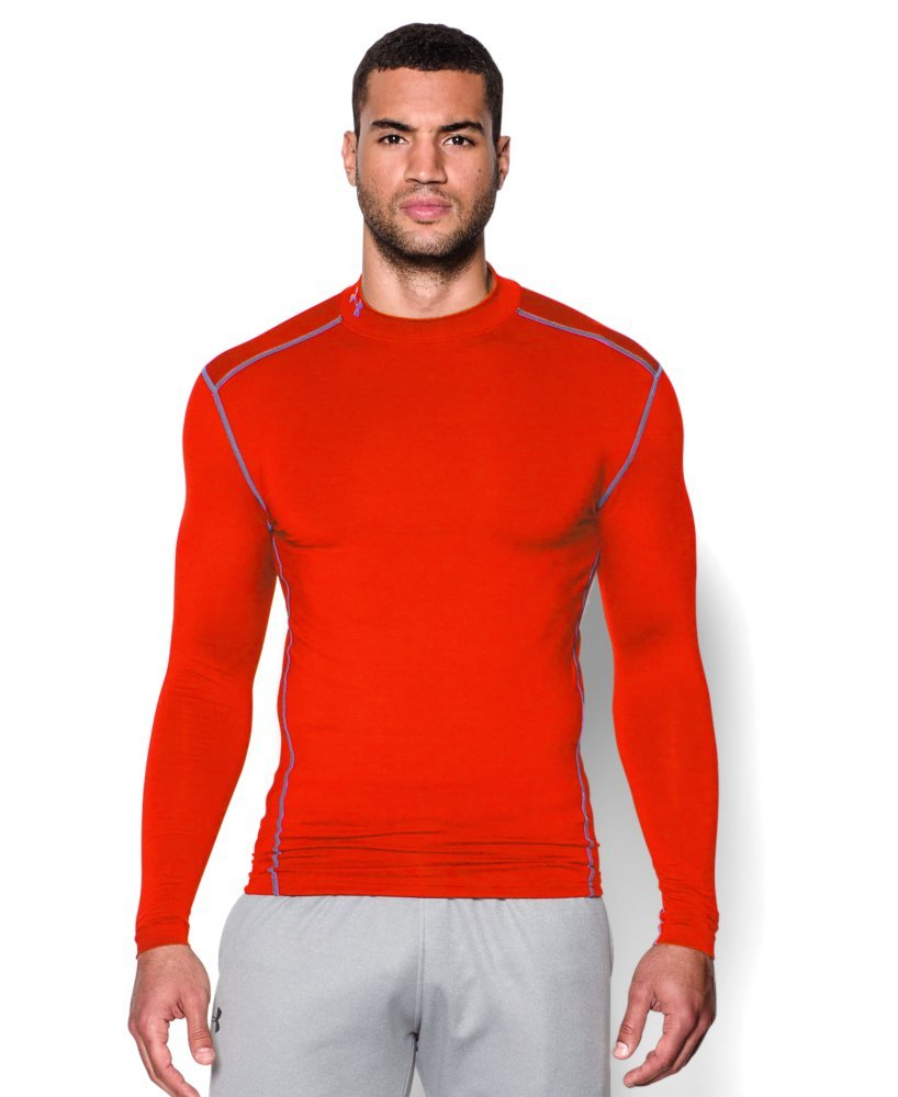 Under Armour Men's ColdGear Armour Compression Mock Long Sleeve Shirt, Dark Orange /Steel, XXX-Large Tall by Under Armour